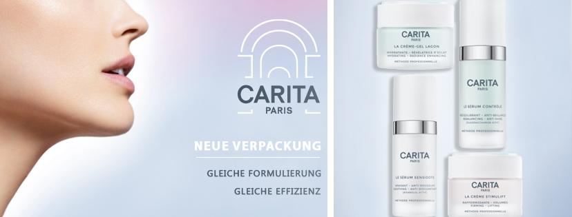 Neue Verpackung CARITA. Gleiche Formulierung, gleiche Effizienz